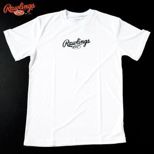 メール便送料無料 ローリングス 野球 トレーニングウェア 半袖 スクリプトロゴ Tシャツ AST7S03 ホワイト|kawaisports