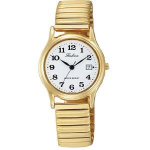 シチズン 腕時計 カレンダー付 蛇腹ベルト 日本製ムーブメント 5気圧防水 ゴールド 婦人/レディースD015-004/3737/送料無料メール便 kawanetjigyoubu