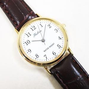 シチズン ファルコン 腕時計 日本製ムーブメント 革ベルト ホワイト/ブラウン Q997-104 レディース 婦人 kawanetjigyoubu