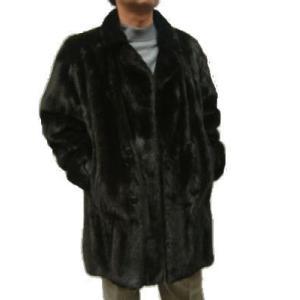 メンズ 毛皮コート ファーコート ブラックミンク テーラーカラーコート 2044