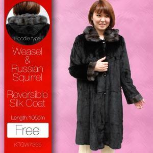 レディース 毛皮コート 105cm丈 シルク ロシアンリス リバーシブル フード付き ファーコート 7355