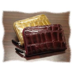 475 コインケース 牛革エナメル クロコダイル型押  小銭入 ラウンドファスナー|kawasyo-yanaka