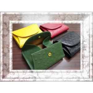 二つ折り財布 牛革オーストリッチ型押 外BOX小銭入付  5616