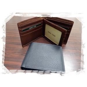7111  二つ折り財布 中ベラ パス窓付 牛革 カード9枚|kawasyo-yanaka