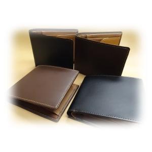 7610 二つ折り財布  日本製  ボックス型小銭入付 牛革ポップ 革匠 メンズ|kawasyo-yanaka