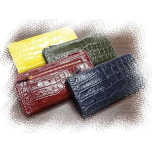 8232 ワニ型押 牛革 Lファスナー長財布 カード18枚|kawasyo-yanaka