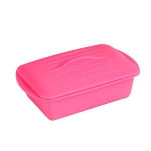 電子レンジ調理器 シリコンケース 角型 ピンク...
