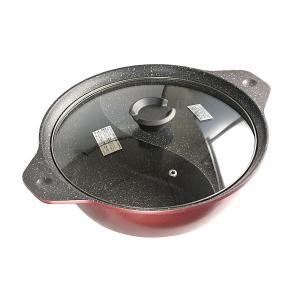 卓上二味鍋 IH対応 直径26cm ガラス蓋付 味楽