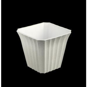 植木鉢 中鉢 6号(16.8×16.8×高さ15.2cm) オフホワイト