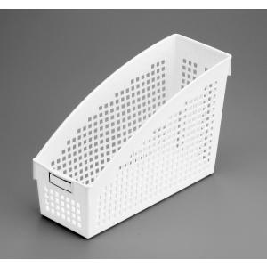 ファイルスタンド A4サイズ収納可 10.4×27×高さ17.8cm ホワイトの写真