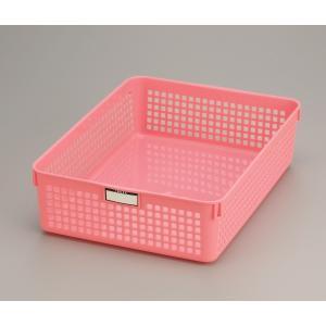 バスケット A4サイズ収納可 24.4×33.2×高さ8.7cm ピンクの写真