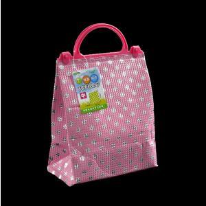 ○水玉柄の保温・保冷バッグです。  サイズは、約21×13×高さ26cmの中サイズです。  持ち手付...