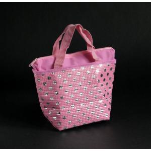○トート型の 保温・保冷バッグです。  かわいい水玉柄です。  サイズは、約28×11.5×高さ18...