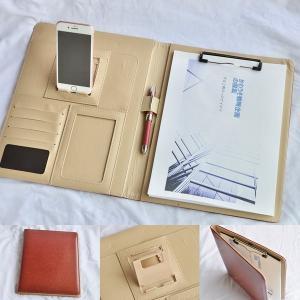 kawauso 繰り返し使えるメモ用紙 セット合皮 レザー A4 スマホ iphone スタンド付き バインダー カード 収納 ビジネス 便利 ( 黒 茶色 紺 ピンク)|kawauso
