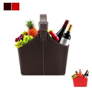 kawauso PUレザー ワイン バスケット 収納 ギフトボックス インテリア BOX(赤・ 茶色)|kawauso