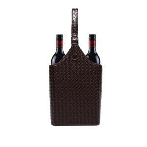 kawauso フェイクレザー ワイン バスケット 収納 ギフトボックス インテリア BOX メッシュ 編み込み調(茶色)|kawauso