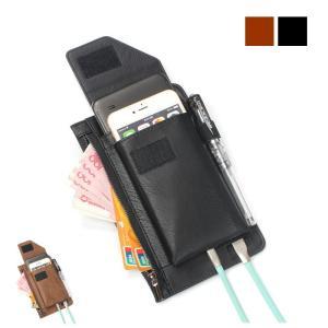 kawauso 合皮 レザー2way  メンズ 薄型 コード ベルトポーチ スマホ iphone 仕事 接客 ビジネス(黒・茶色)|kawauso