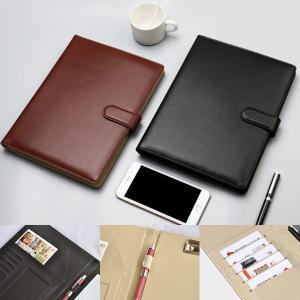 kawauso 合皮レザー B5 バインダー 多機能 手帳型 ビジネス 選べる2カラー(黒・茶色)|kawauso
