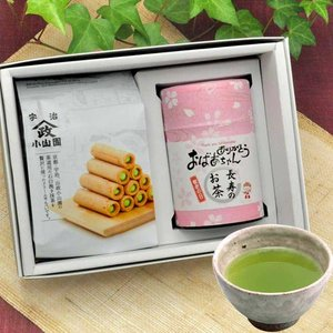 70代 80代 おばあちゃんにオススメ お茶とお菓子のセットです  商品名 :深蒸し茶と、抹茶の里セ...