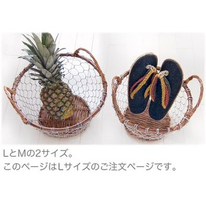 ワイヤーバスケット持ち手付き・Lサイズ(ナチュラル アジアン リゾート)|kayseri-ya-jp
