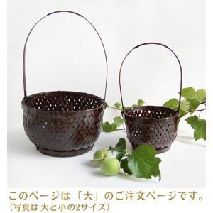 持ち手付き丸竹籠・大(アジアン エスニック 和雑貨 バスケット バンブー)|kayseri-ya-jp