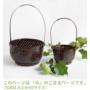 持ち手付き丸竹籠・小(アジアン エスニック 和雑貨 バスケット バンブー)|kayseri-ya-jp