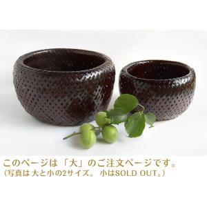 二重編み竹バスケット・大(アジアン エスニック 和雑貨 整理カゴ バンブー)|kayseri-ya-jp