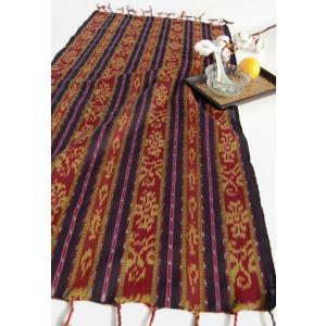 イカット フリークロス・ディープレッドストライプ(アジアン インドネシア 手織り 布) kayseri-ya-jp