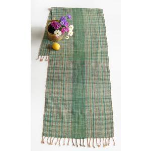 コットン手織りフリークロス・草グリーン(綿100% テーブルランナー)|kayseri-ya-jp