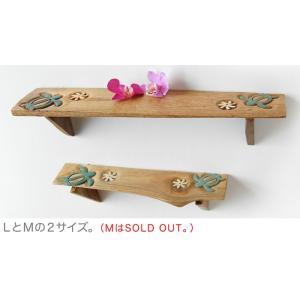 チーク材スリムシェルフ・ホヌLサイズ(リゾート 壁掛け棚) kayseri-ya-jp