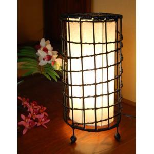 ラタン&コットン・円筒格子ランプ(アジアン エスニック 床 照明)|kayseri-ya-jp