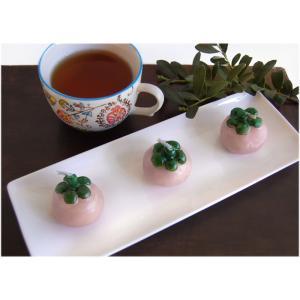 木の実のキャンドル3個と白い磁器トレーのセット(インテリア ロウソク) kayseri-ya-jp