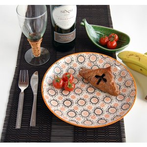 エスニック柄のお皿・オレンジ/ブラック Lサイズ(アジア雑貨 食器 陶器) kayseri-ya-jp