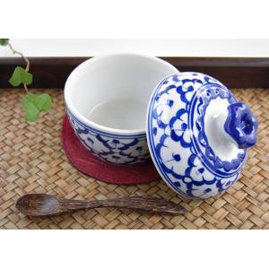 ふた付き青白シュガーポット(アジアン エスニック 食器 陶器) kayseri-ya-jp