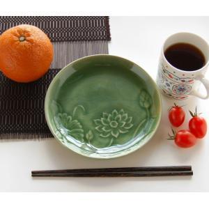 ロータス丸皿・モスグリーン(アジアン オリエンタル 食器 陶器) kayseri-ya-jp