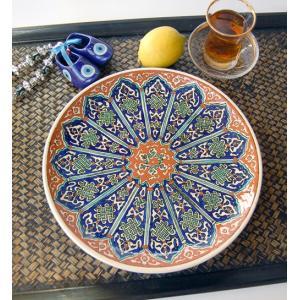 トルコ・キュタフヤ陶器の絵皿「アラベスクモザイク」(オリエンタル 中東 西アジア) kayseri-ya-jp