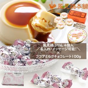 ミルクプリン4個セット×神戸モンロワールココアミルクチョコレート100g(約20個)1箱セット kazamidorihonpo