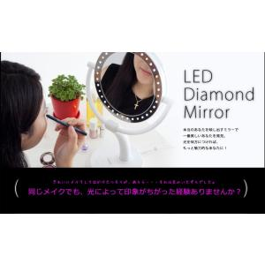 LEDライト付き メイクアップミラー ダイヤモンドミラー 丸 拡大鏡 等倍 両面鏡 化粧用鏡 プレゼント 万雄