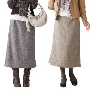 ツイード素材のらくちんスカート ブラウン系L|kazukobo-vip