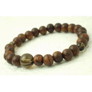 数珠 念珠 腕輪 ブレス 栴檀 茶水晶入り kb-hayashi