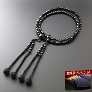 数珠 男性用 真言宗 尺二 黒オニキス 本式数珠 念珠袋付き SM-048|kb-hayashi