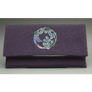 数珠袋 念珠袋 数珠入れ 折りたたみ数珠入れ ちりめん 刺繍入り 紫|kb-hayashi