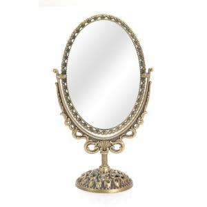 卓上ミラー キュービックオーバル 卓上ミラー(小型) スタンドミラー 鏡 テーブルミラ アンティークミラー 化粧鏡 オーバルミラー アンティーク風