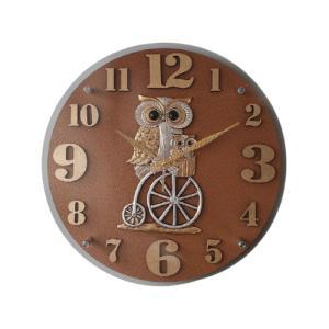 <商品仕様> モデル名 : 自転車を乗るフクロウ 壁掛け時計 材質:マーブル、アクリル 色:ブラウン...