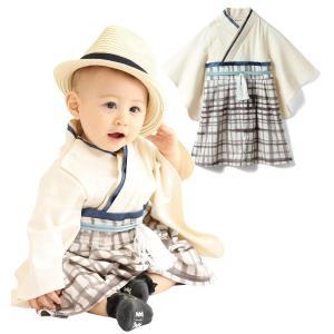 Sweet Mommy 袴 ロンパース ベビー 着物 カバーオール 日本製和柄ちりめん オーガニックコットン身頃 チェックホワイト 90|kbr-shop