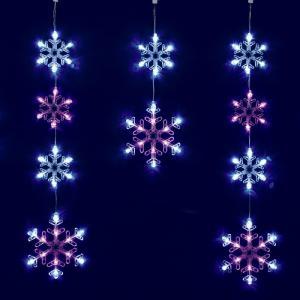 フローレックス KT-3087 6連ホワイトピンクLEDスノーフレイクカーテンライト メーカー直送品 同梱/代引不可【送料無料(沖縄・離島を除く)】|kcm-onlineshop