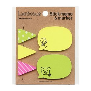 子供とくまのイラストが入ったかわいい付箋。吹き出しの形はメッセージを書いて、フラッグの形は目印などに...