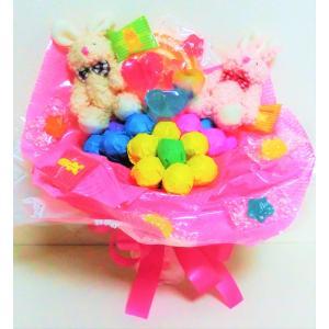 キャンディブーケ キャンディーブーケ 手持ちなかよしウサギさん お菓子ブーケ  ピアノ バレエ 発表会 花束の画像