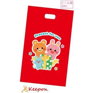 プレゼント袋 (1枚)(メール便可能) 300×500mm かわいい 可愛い 袋 ビニール袋 手提げ 持ち手 ラッピング ギフトバッグ|keepon