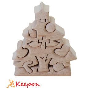 木のおもちゃ クリスマスツリー(小)だいわ 木製おもちゃ プレゼント パズル 絵合わせ 誕生日 出産祝い クリスマス ラッピング|keepon